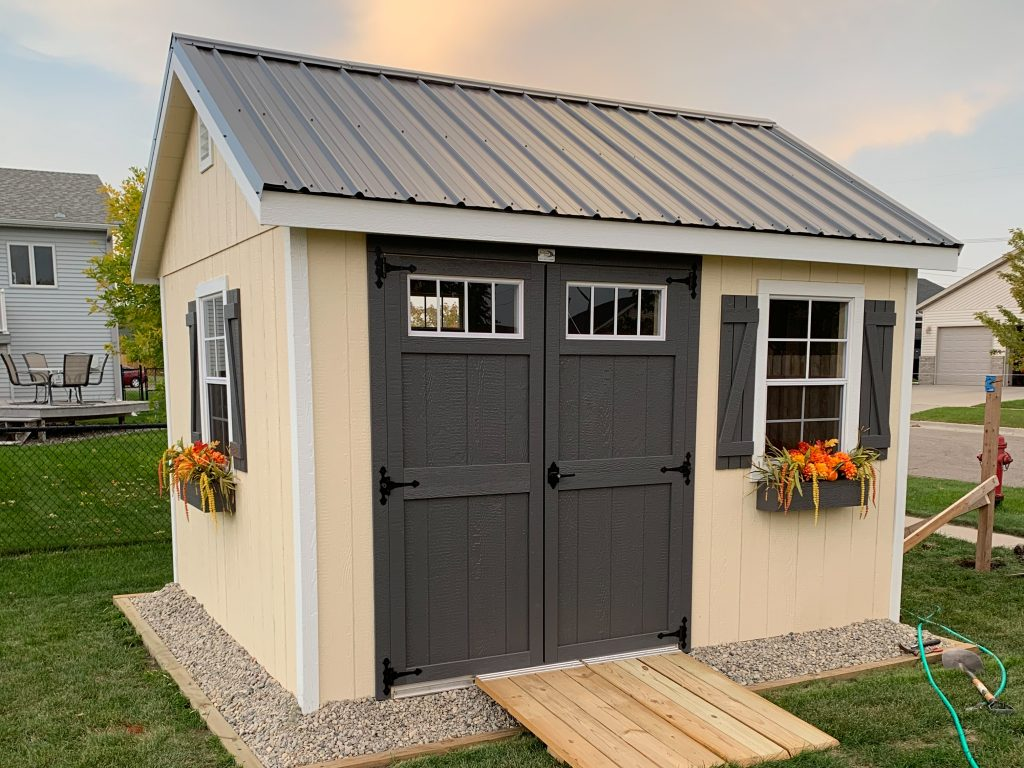 easy office shed at home in backyard in North Dakota