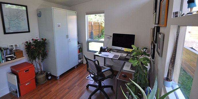 shed conversion home office well lit space