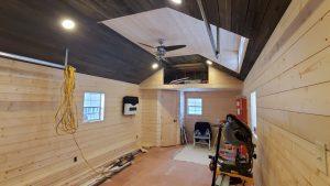 pine board wall finish portable cabin minnesota