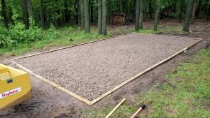 shed base ready for portable cabin installation