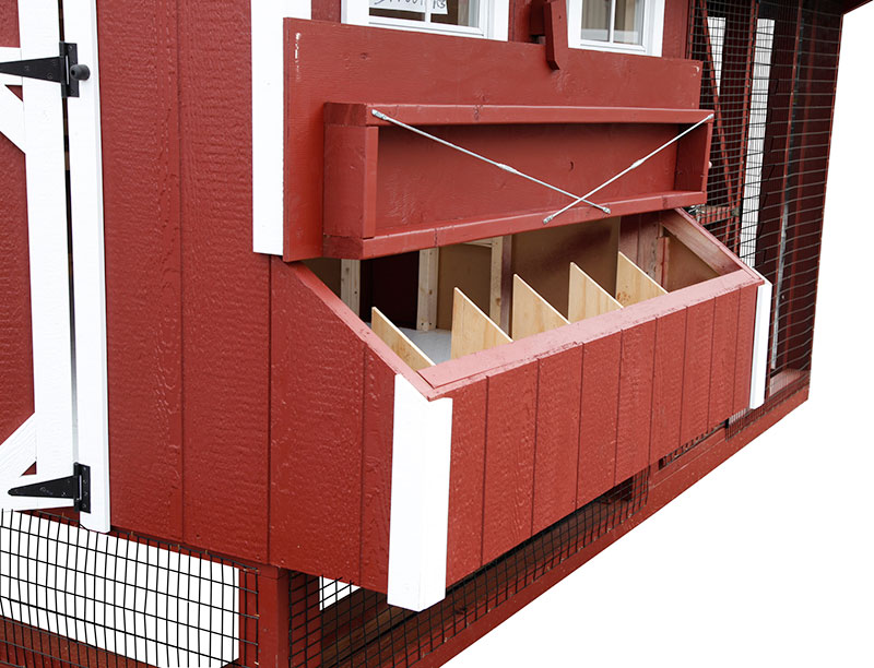 Exterior access to nesting boxes of chicken coop