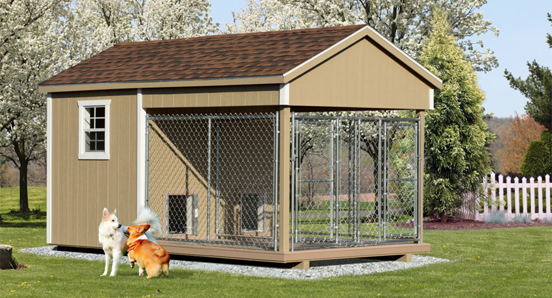 8x14 dog kennel run with insulated interior