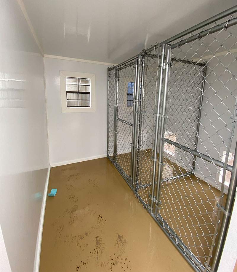 Interior of dog kennels for sale