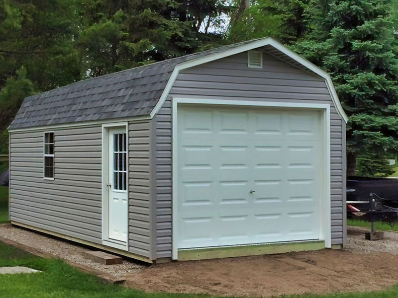 High barn prefab garage with vinyl siding