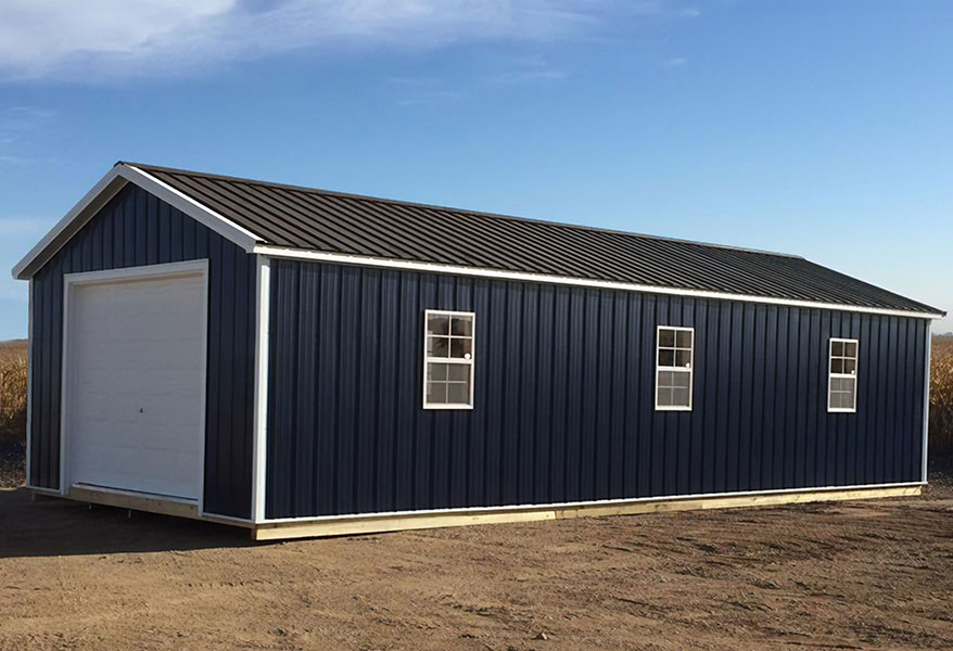 Metal sided prefab garage for sale