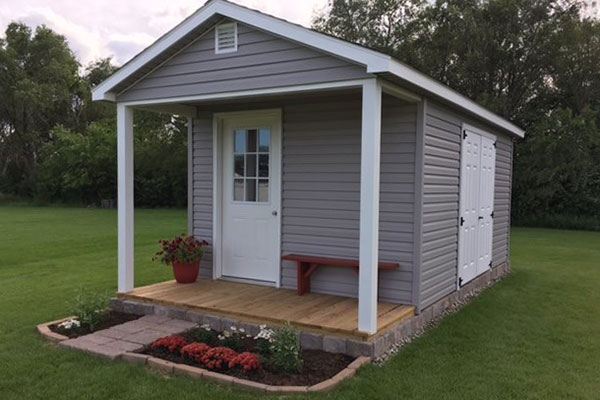 Ranch porch shed for cabin shed