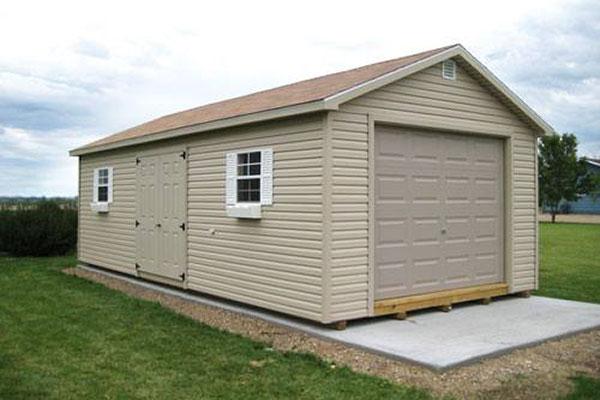 Ranch vinyl garage shed
