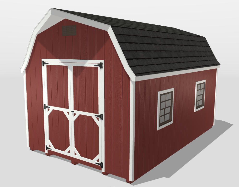High barn sheds wood panel siding