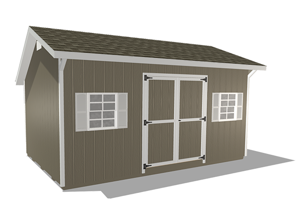 Saltbox sheds wood panel siding