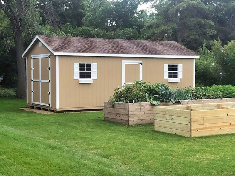 Ranch outdoor storage shed with essentials bundle